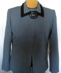 Tailored Blue Jacket with Fabric Flower, Covered Snap & Collar Trim