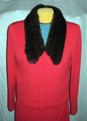 Red Flared Leg Pantsuit Removable Fur Collar